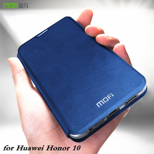 Image 1 - MOFi oryginalne etui z klapką do Huawei Honor 10 miękkie etui do Honor10 PU skóra do Honor Case Book TPU silikonowe Conque