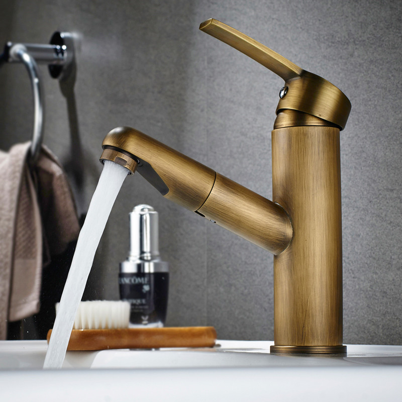 Bathroom Basin Faucet Antique Brass Pull Out Faucet Spray Single handle Sink Mixer Tap Hot Cold Deck Mounted Water Tap Torneiras antique ceramic brass hot and cold water kitchen faucet mixer tap single handle deck mounted dathroom basin vessel sink faucet