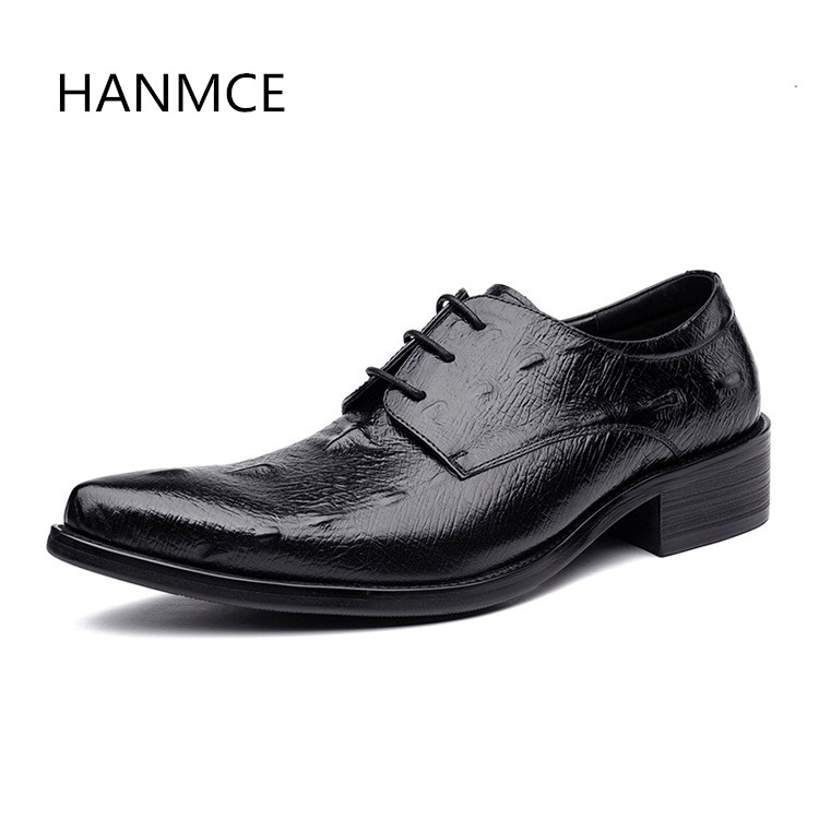 Mens genuine leather dress shoes pointed toe lace up luxury design wedding shoes men high grade office work shoes black red blue