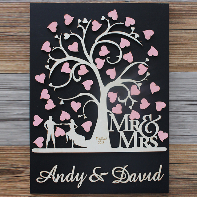 Aliexpress  Buy 3D Personalized Wedding Guest Book Frame,Rustic