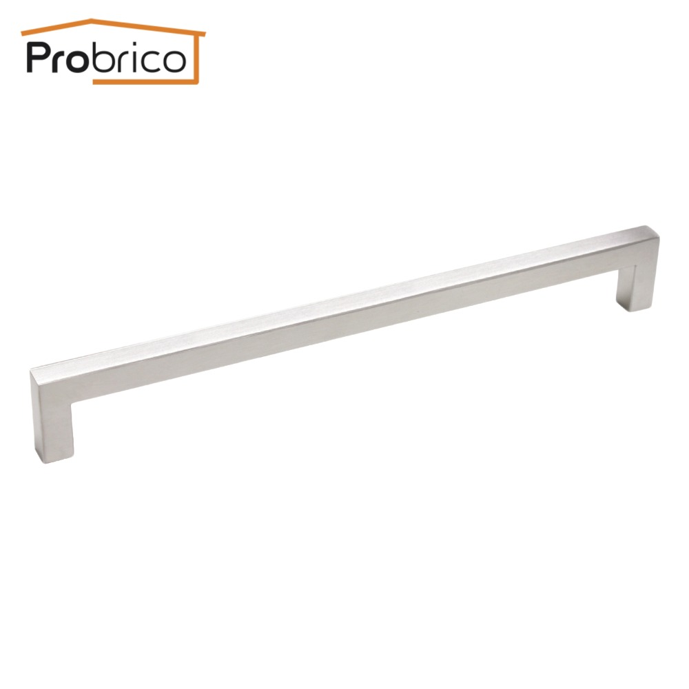 Probrico 12mm*12mm Square Bar Handle Stainless Steel Hole Spacing 224mm Cabinet Door Knob Furniture Drawer Pull PDDJ27HSS224 probrico 10mm 20mm square bar handle stainless steel hole spacing 128mm cabinet door knob furniture drawer pull pddj30hss128