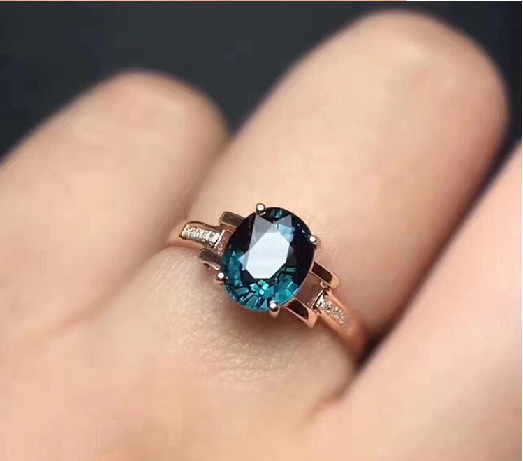 Topaz Ring Free Shipping Natural Blue Topaz 925 Sterling Silver Ring Fine Blue Gem Rings 5*7mm