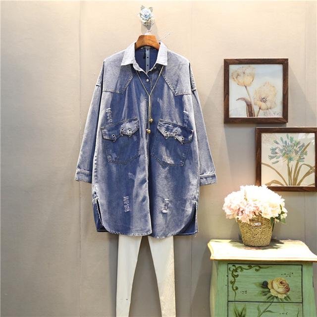[XITAO] 2017 Corea moda femenina primavera suelta de gran tamaño de manga larga agujero hollow out turn down collar denim jean trench ABB018