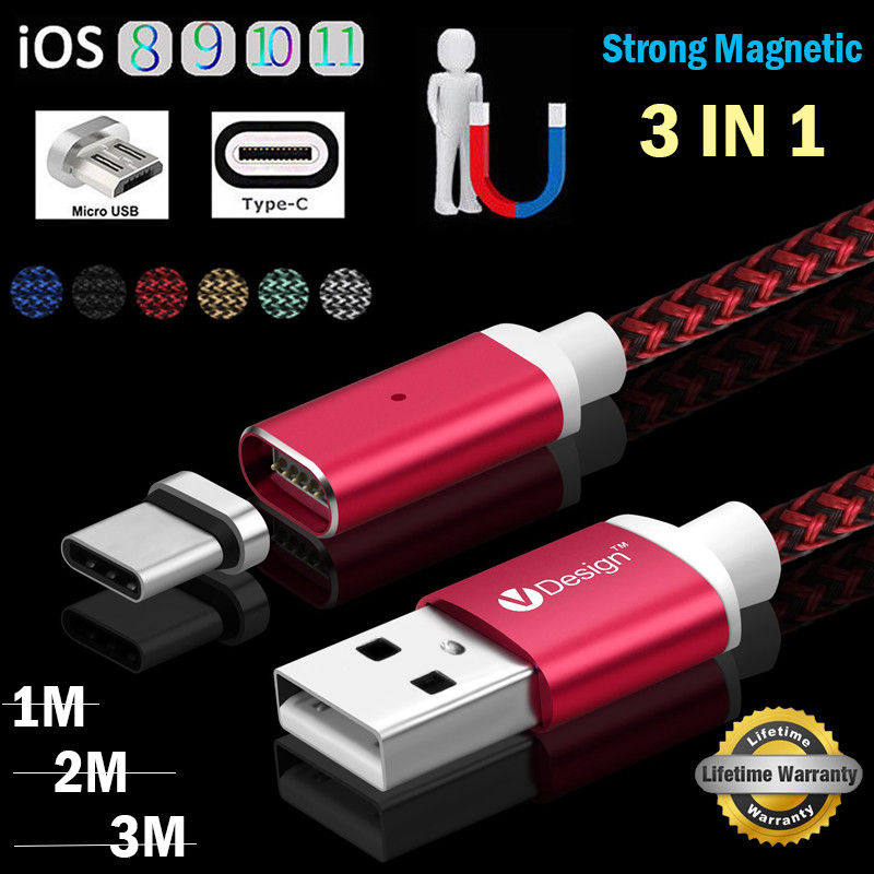 1/2/3M <font><b>3IN1</b></font> 2.1A High Speed Magnetic Braided Micro <font><b>USB</b></font>/IOS/Type C Charger Charging <font><b>Cable</b></font> Cord <font><b>For</b></font> <font><b>iPhone</b></font> Samsung S8 Plus Android image