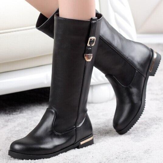 Aliexpress.com : Buy round toe Flat heel boots women fashion Black ...