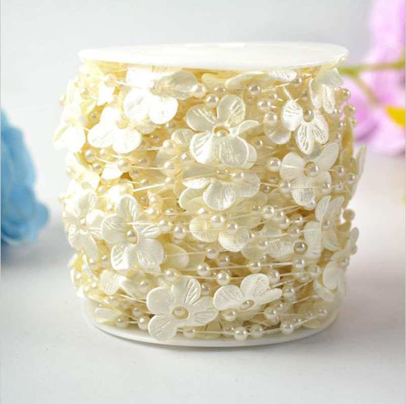 A Roll 30 Meters Fishing Line White Beige Pearl Beads Garland 4mm Pearl Beads String With Flower Petal Christmas Home Decoration in Party DIY Decorations from Home Garden