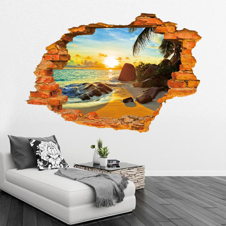 Creative 3d sticker sunshine beach wall sticker 60 90cm for Sticker mural 3d