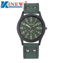 Vintage clásico reloj de los hombres a prueba de agua calendario fecha reloj de cuarzo militar del ejército del deporte del cuero relojes relogio masculino xinew