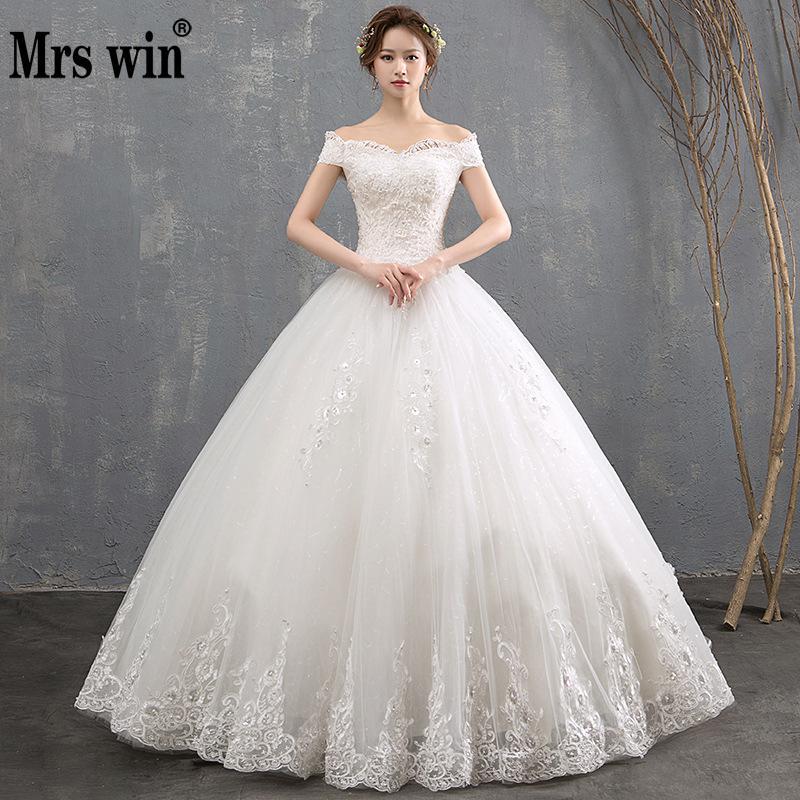 Mrs Win Vestido De Noiva 2019 New Boat Neck Off The Shoulder Princess Vintage Wedding Dress