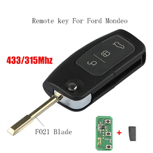 3Buttons Remote Car key FO21 Blade For Ford Mondeo Focus Fiesta Transponder Chip 4D60 or 4D63 433Mhz Original Key