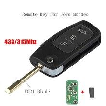 Llave de coche remota de 3 botones, hoja FO21 para Ford Mondeo Focus Fiesta, Chip transpondedor 4D60 o 4D63, llave Original de 433Mhz