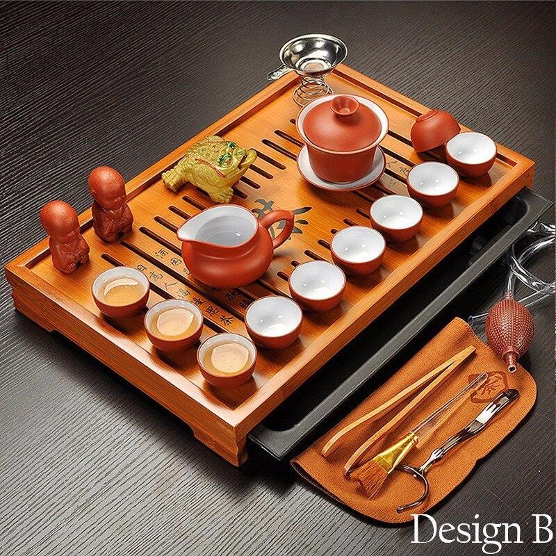 Ensemble de thé Kung Fu en argile violette Jingdezhen, tasse à thé, infuseur de Tureen, cérémonie du thé chinois avec Gaiwan, Table à thé Chahai - 2