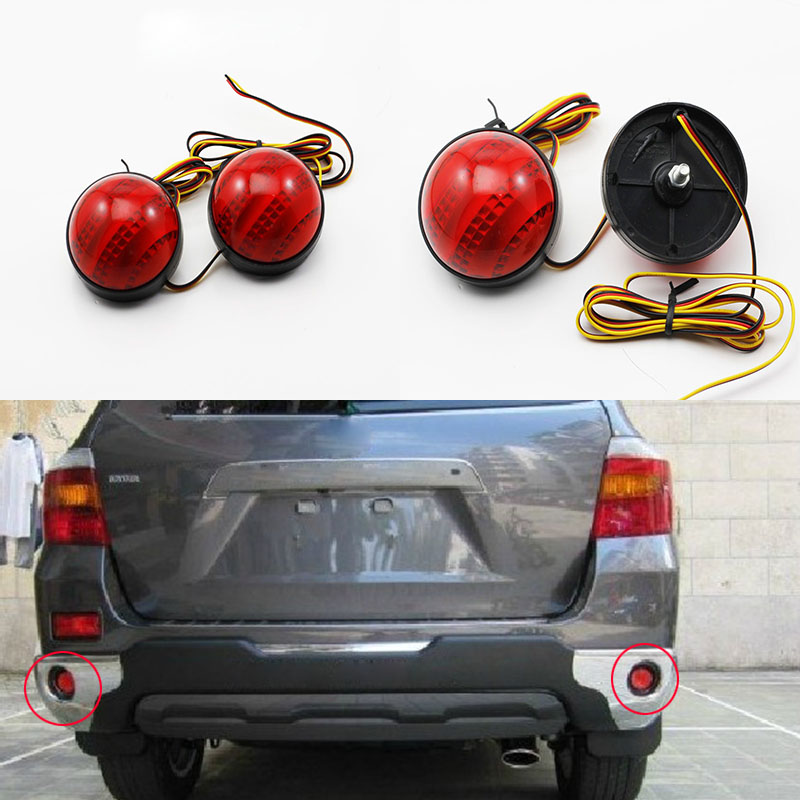 LED Brake Lamp Red Tail Light Parking Warning Rear Bumper Reflector For Toyota Highlander 2009-2011 Fortuner Voxy Mitsubishi ASX rear fog lamp running light turn signals brake light for toyota highlander 2015 bumper reflector