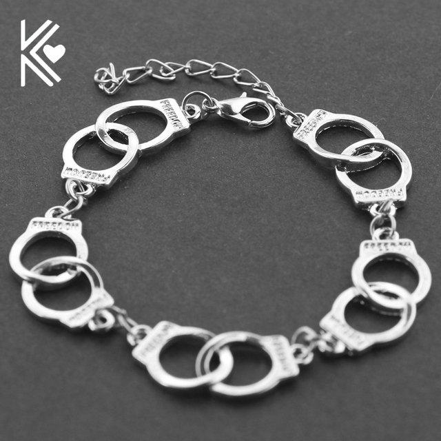 Fifty Shades Of Grey Handcuff Bracelet Handcuffs Wristband Snap On Jewelry Handmade Freedom