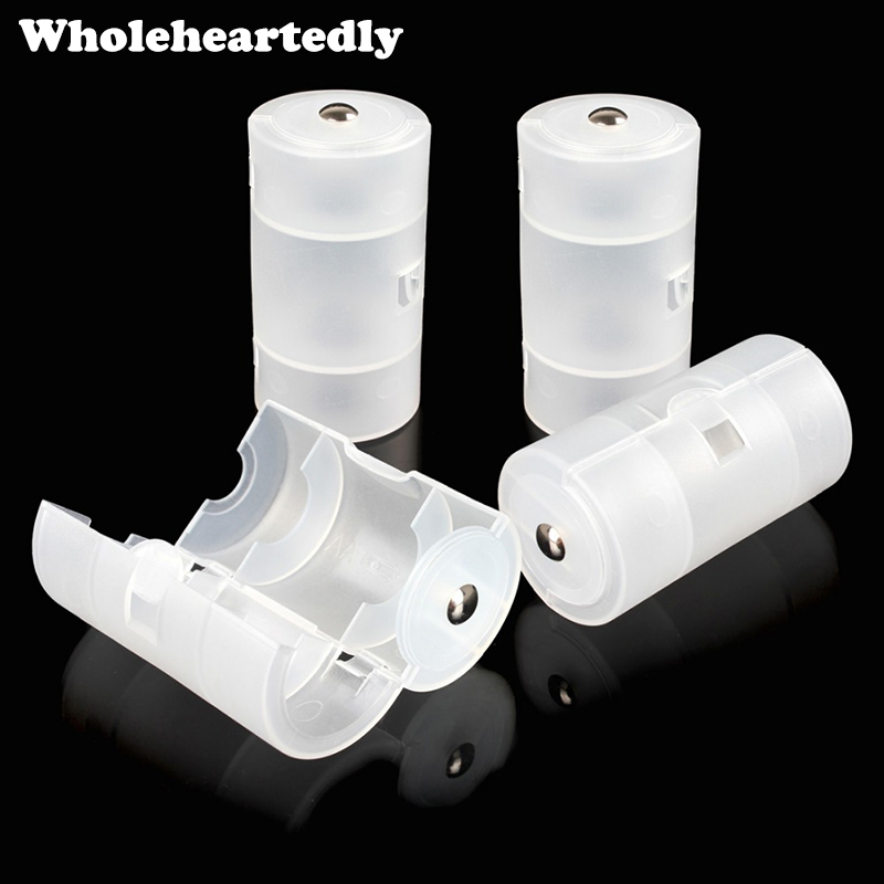 4pcs/lot Transparent White Plastic AA To D Size Cell Battery Conversion Adapter Switcher Converter Case Box Wholesale