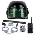 7 Unids/set Policía Antidisturbios Sombrero Cosplay niños juguetes Kids Helmet Cp Esposas Walkie Talkie Insignia Pretend Play House Juguetes para niños