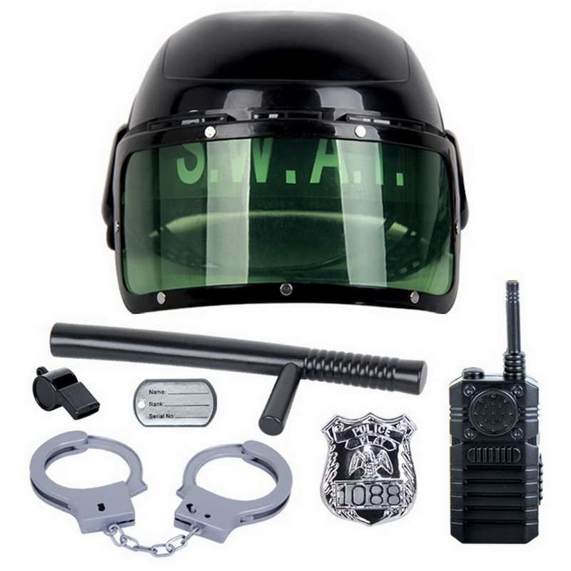 7Pcs/set Riot Police Hat Cosplay kids toys Kids Helmet Cop Handcuffs Walkie Talkie Badge ...
