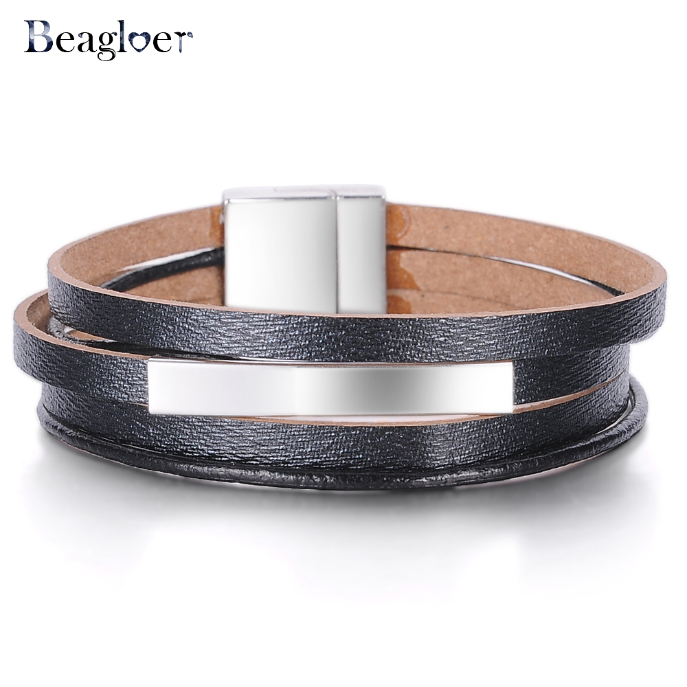 Beagloer Fashion Genuine Leather Bracelet Men Stainless Steel Bracelets Braided Rope Chain for Male Jewelry Vintage Gifts