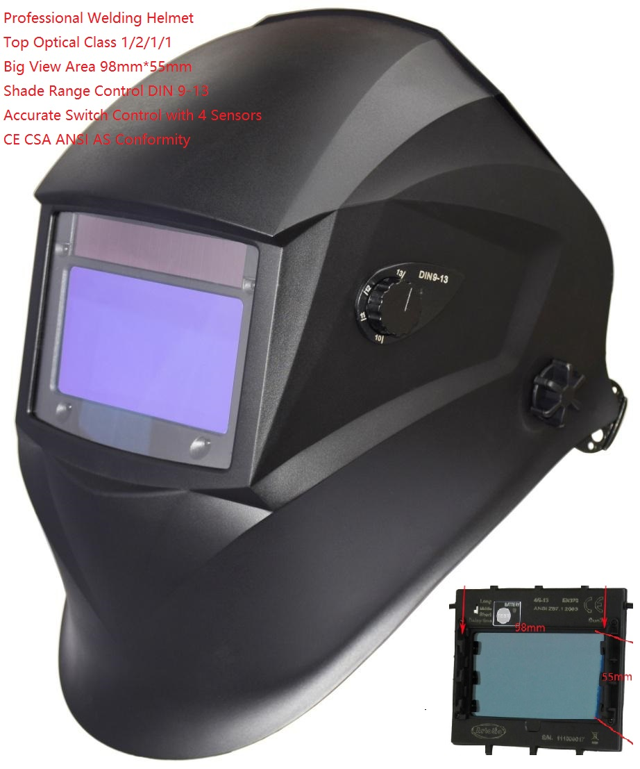 Welding Helmet Professional Mask Solar Auto Darkening View 98*55mm MIG TIG MMA Plasma Grinding 4 Sensors Optical 1211 CE UL CSA wedling tool football pro solar auto darkening shading tig mig mma arc welding mask helmet welder cap for welding machine