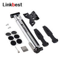 Linkbest Mini Floor Bike Pump -Tire Inflation 160 PSI - Secure Presta and Schrader Valve-Ball Needle/Tire Repair Kit Included