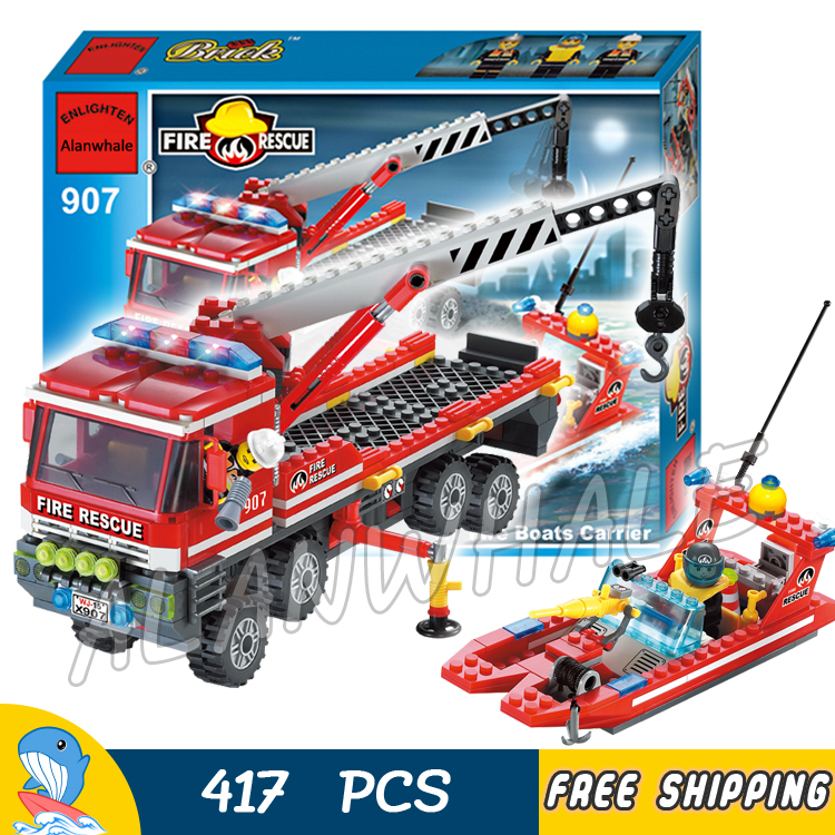 417pcs City AT Fire Engines Carrier Boats Rescue Ships Truck 3D 907 Model Building Blocks Kit Children Toys Compatible with lego 605pcs city scaling ladder fire engines rescue truck 3d firefighter 908 model building blocks children toys compatible with lego
