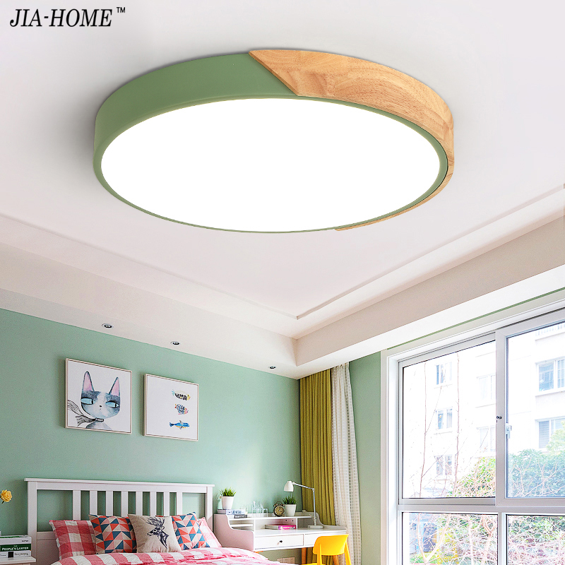 Round Wooden LED Ceiling Lights With Remote Control Macaron color Ceiling Lamp For Living Room Dining Kitchen Lighting Fixtures black and white round lamp modern led light remote control dimmer ceiling lighting home fixtures