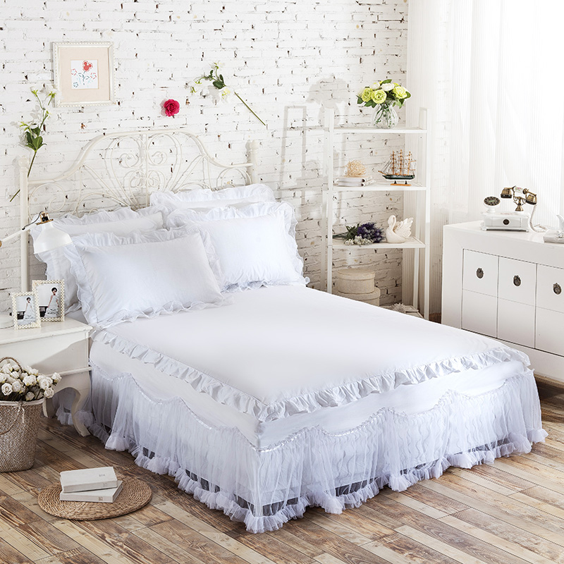 100% cotton comfortable romantic lace bedspread <font><b>bed</b></font> skirt mattress protective case cover BEDSKIRT twin full queen king sizE