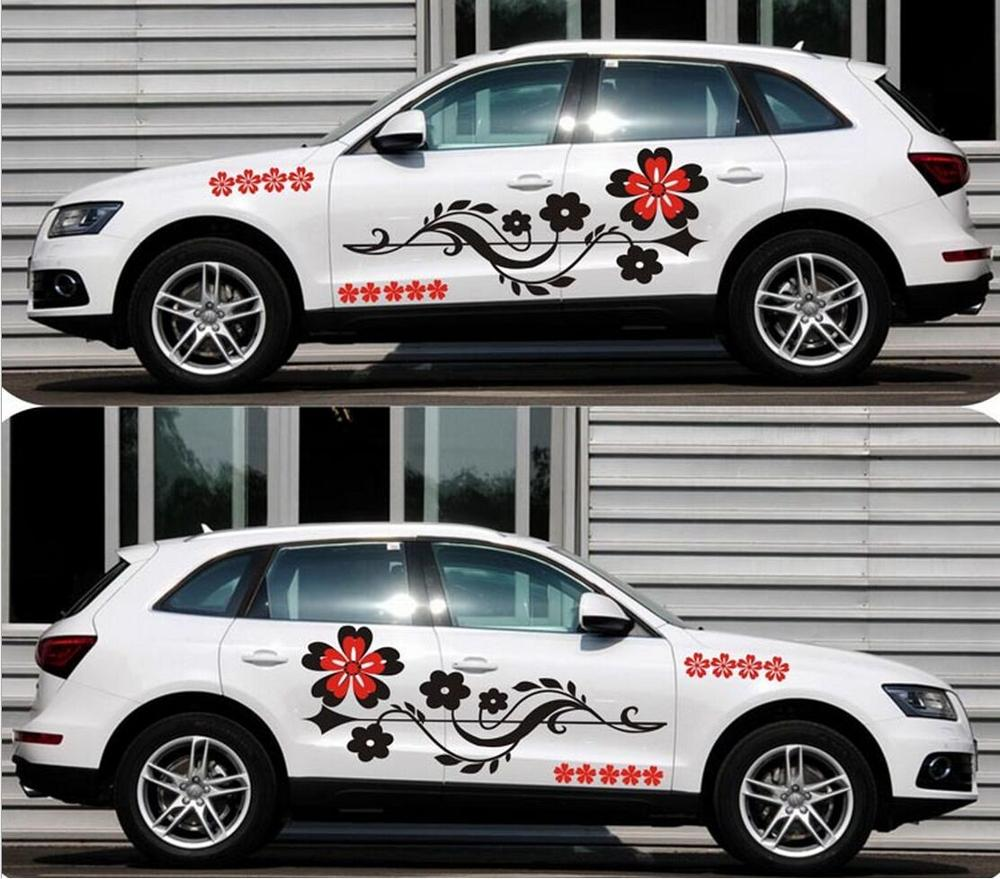 Pvc auto modifield decal vinyl car stickers flower vine whole car body styling for universal cars