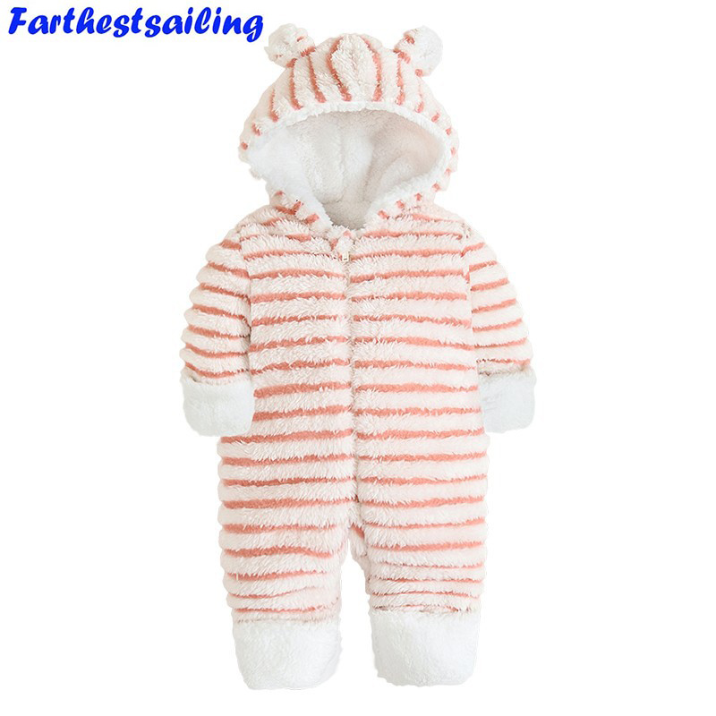 Baby Plush Jumpsuit Striped Infant Long Sleeve Stripe Newborn Snowsuit Winter Overalls for Kids Baby Girls Boys Winter Rompers striped v neck jumpsuit