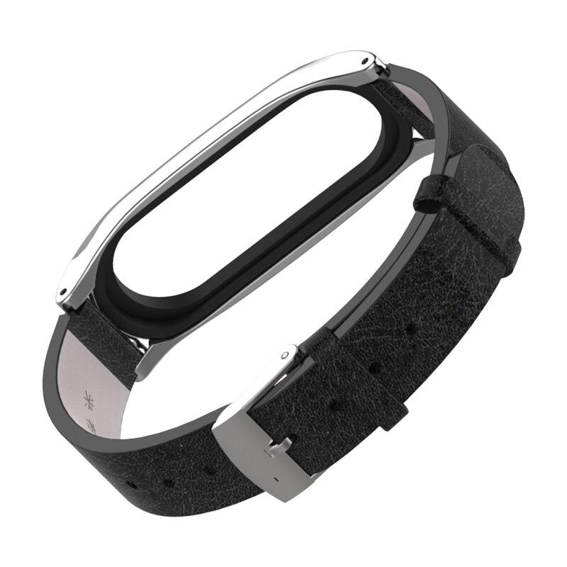Image 2 - Для mi Band 3 ремешок металлический каркас из искусственной кожи ремешок для Xiaomi mi Band 3 умный браслет аксессуары mi band 3 PU плюс кожаный ремешок-in Умные аксессуары from Бытовая электроника