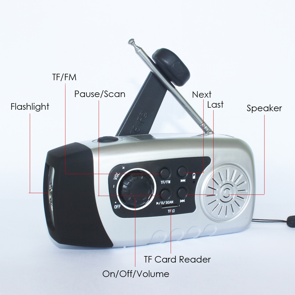 Rechargeable Phone Charger Hand Crank TF FM Solar Radio Small Generator LED Flashlight