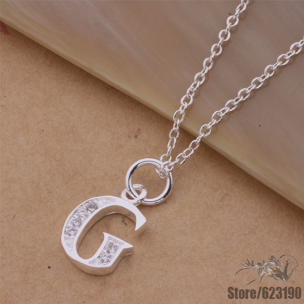 an213 silver plated love cute necklace silver fashion jewelry pendant letter g bbgajsna cnsaleza