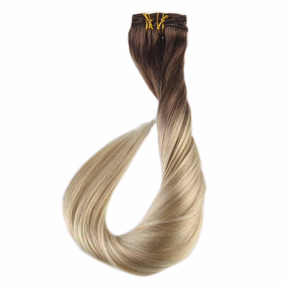 Full Shine Real Hair Clip In Extensions Ash Blonde Color #18 Fading To 613 Blonde 7pcs 100g Remy Human Hair Clip Ombre Extension To Have A Unique National Style Hair Extensions