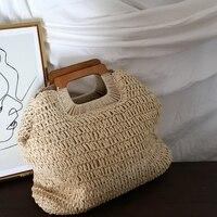 Корейский карамельного цвета ins ветер ручная Соломенная Сумка Сумочка женская летняя большая емкость Французский Ретро пляжная сумка