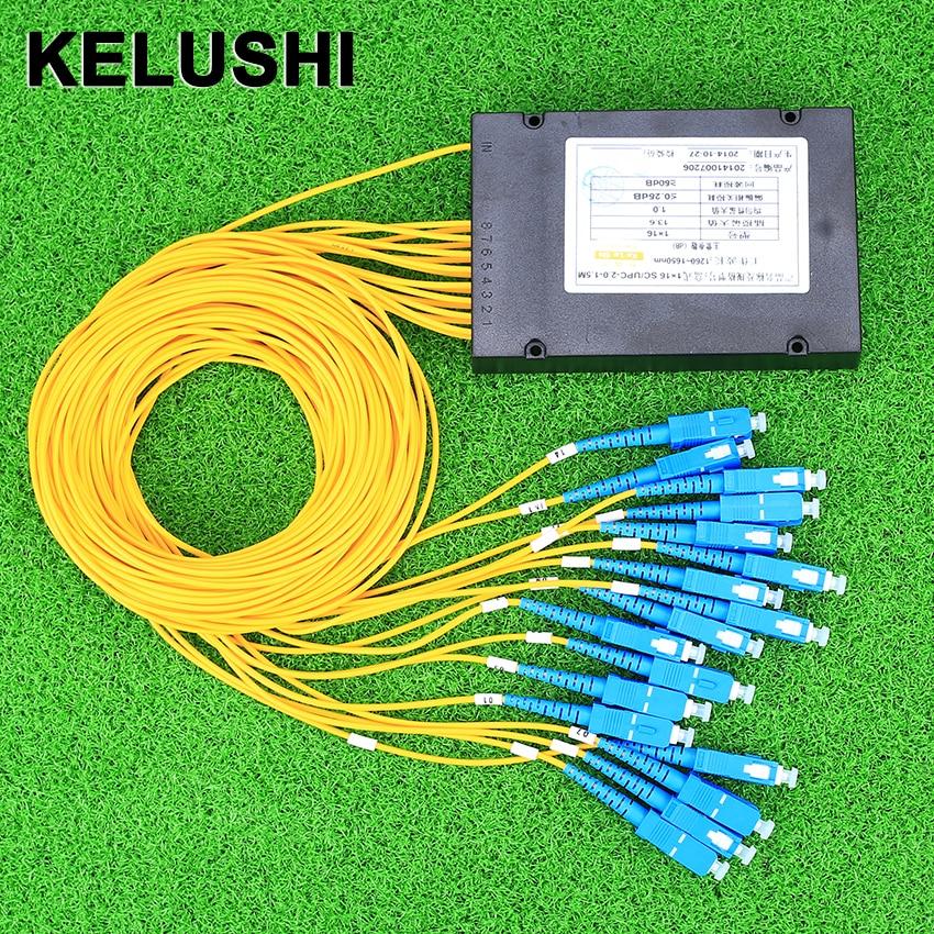 KELUSHI Optical Fiber Branching Device1 Points 16 Telecom PLC cassette Optical Splitter with SC Optical GPON Planar Waveguide