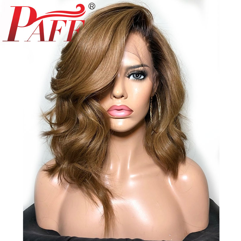 PAFF Ombre 180 Density Silk Top Lace Front Human Hair Wigs for Women 30 Honey Brown