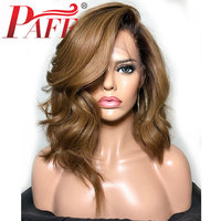 PAFF Ombre 180% Density Silk Top Lace Front Human Hair Wigs for Women 30# Honey Brown 4x4 Silk Base Lace Front Bob Wig Remy Hair