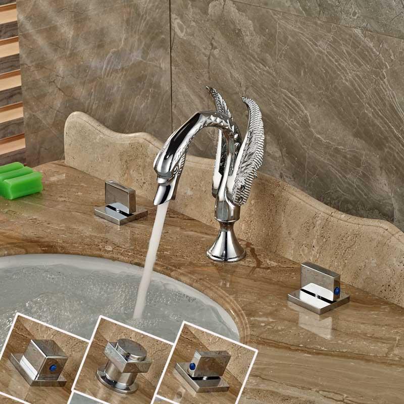 Three Holes Dual Handles Chrome Finish Swan Shaped Spout Basin Faucet for Bathroom