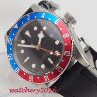 41mm Estéril Mostrador Azul & Red Rotating Bezel marcas Luminosas GMT Data Caixa de aço Inoxidável Movimento Automático dos homens relógio|Relógios mecânicos|   -