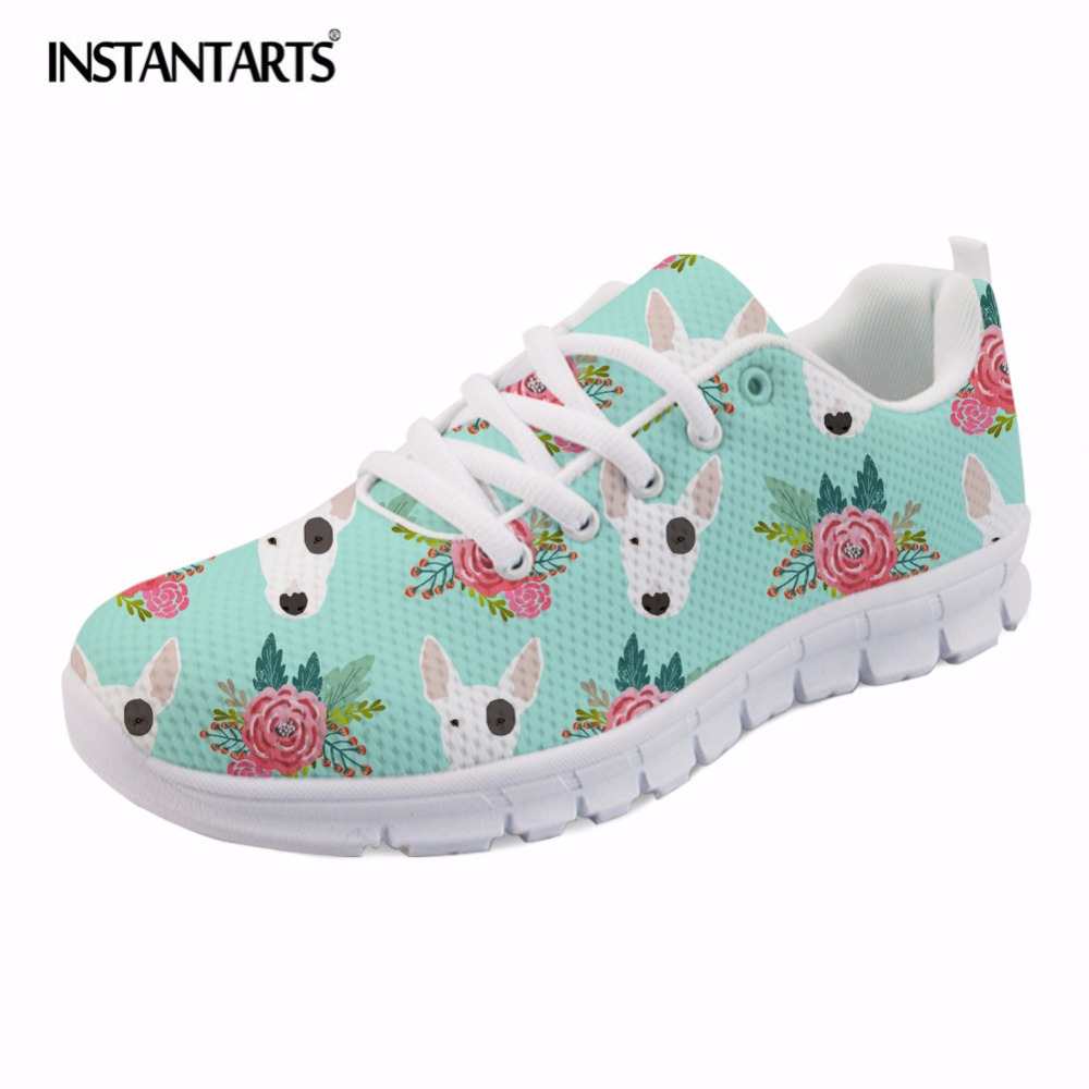 INSTANTARTS Women Spring Sneakers Shoes Cute Animal Dog Pattern Woman Lace Up Casual Flats Shoes Bull Terrier Student Lady Tenis instantarts cute glasses cat kitty print women flats shoes fashion comfortable mesh shoes casual spring sneakers for teens girls