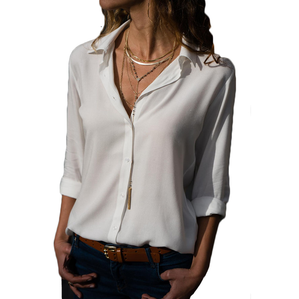 New Fashion Women V neck Long Sleeve Chiffon Shirts Spring Autumn Blouses Ladies Fashion Buttons Office Blusas Loose Top in Blouses amp Shirts from Women 39 s Clothing