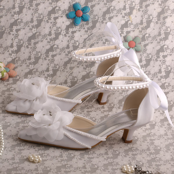 ФОТО Wedopus Hot Selling Low Heels Pointed Toe Flower Wedding Shoes Ribbon Strap Shipping