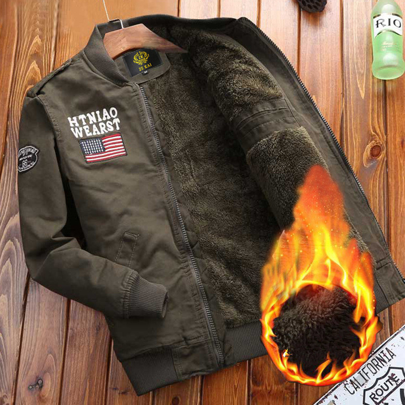 Winter Mens Army Green Military Jacket Warm Fleece Cotton Bomber Jacket Casual Male US Military air force pilots Tactical Coat