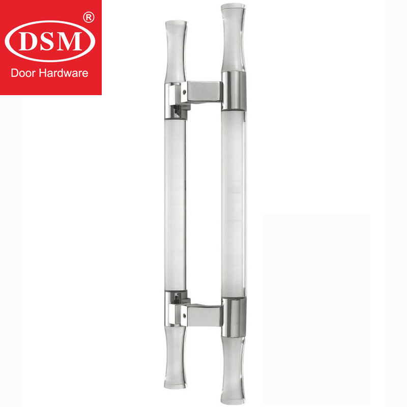 Free Shipping Entrance Door Handle 304 Stainless Steel + Clear Acrylic Pull Handles For Wooden/Metal/Glass Doors PA-294-32x500mm 2000mm length square tube golden entrance door handle stainless steel pull handles for wooden metal glass doors pa 637
