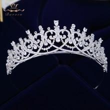 ใหม่ Brides Heart Shape Zircon เจ้าสาว Tiaras Crowns Sparking เจ้าสาว Hairbands คริสตัลงานแต่งงานอุปกรณ์เสริมผม