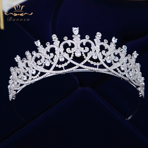 Image 1 - New Brides Heart Shape Full Zircon Brides Tiaras Crowns Sparking Bridal Hairbands Plated Crystal Wedding Hair Accessories
