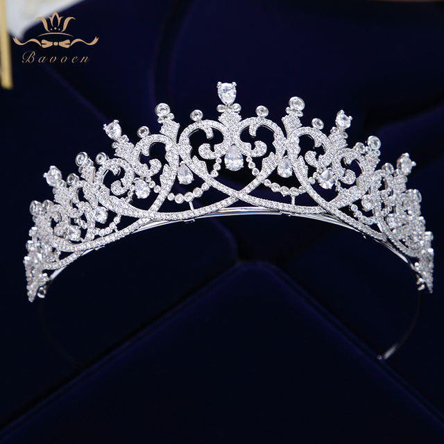 New Brides Heart Shape Full Zircon Brides Tiaras Crowns Sparking Bridal Hairbands Plated Crystal Wedding Hair Accessories