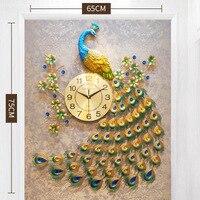 Peacock wall clock, living room silent creative quartz clock, European home wall clock