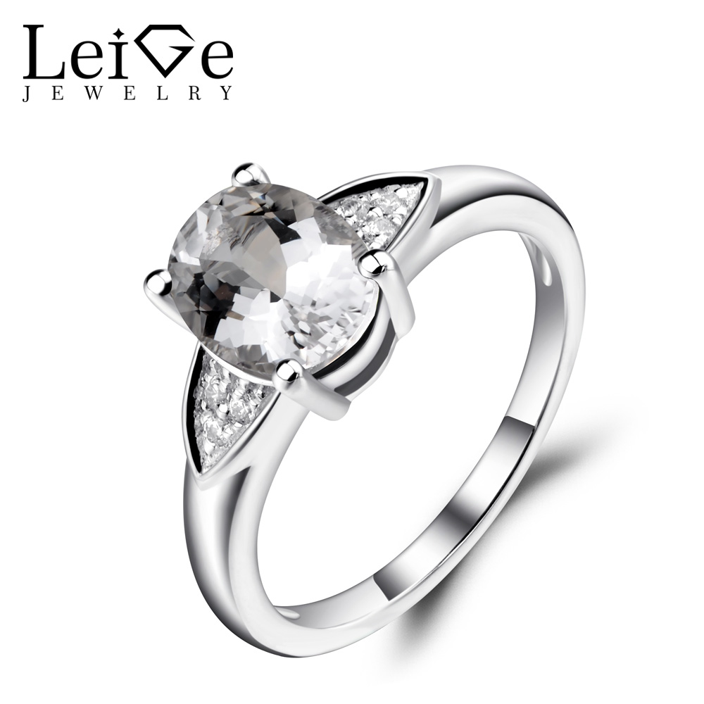 Leige Jewelry Natural White Topaz Rings for Women Oval Shaped Wedding Engagement Rings 925 Sterling Silver Gemstone Jewelry leige jewelry oval shaped smoky quartz ring 925 sterling silver wedding engagement halo rings for women oval gemstone jewelry