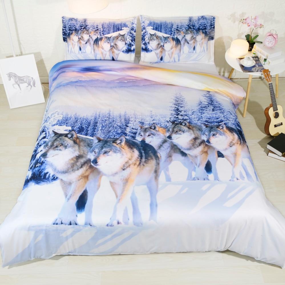 Royal Linen Source Brand 3 PCS PER SET Snow Wolf 3d Bed